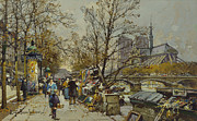 Figures Painting Framed Prints - The Rive Gauche Paris with Notre Dame Beyond Framed Print by Eugene Galien-Laloue