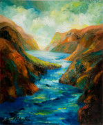 Waterscape Painting Metal Prints - The River Blue II Metal Print by Larry Martin