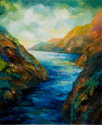 Surreal Landscape Painting Metal Prints - The River Blue Metal Print by Larry Martin