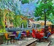 The Riverside Cafe Print by Dragica  Micki Fortuna