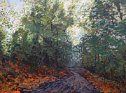 National Parks Paintings - The road along the trees by Monica Caballero