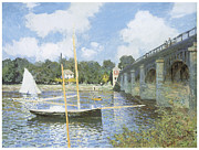 Impressionism Framed Prints - The Road Bridge at Argenteuil Framed Print by Claude Monet