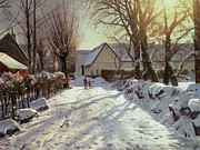 Cold Morning Sun Paintings - The Road Home by Peder Monsted