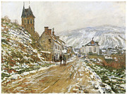Country In Winter Prints - The Road in Vetheuil in Winter Print by Claude Monet