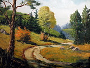 Woodland Scenes Painting Posters - The Road Not Taken Poster by Lee Piper