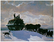 Snow Horses Framed Prints - The Road Roller Framed Print by Rockwell Kent
