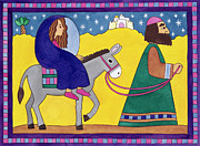 Donkey Painting Metal Prints - The Road to Bethlehem Metal Print by Cathy Baxter