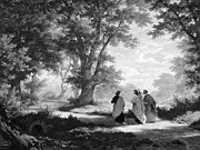 Disciples Posters - The Road To Emmaus Monochrome Poster by Tina M Wenger