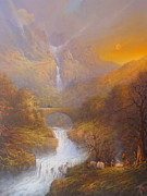Lord Of The Rings Painting Posters - The road to Rivendell The Lord of the Rings Tolkien inspired art  Poster by Joe  Gilronan