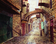 Palm Sunday Paintings - The Road to the Cross  Jerusalem by Graham Braddock