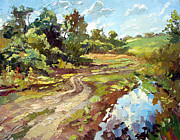Lifestyle Painting Posters - The road to the village Poster by Dmitry Spiros