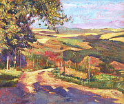 Fences Paintings - The Road To Tuscany by David Lloyd Glover