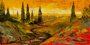 Tuscan Sunset Painting Metal Prints - The Road to Tuscany Metal Print by Larry Martin