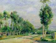 Impressionism Posters - The Road to Versailles at Louveciennes Poster by Pierre Auguste Renoir