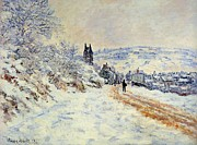 Christmas Eve Painting Posters - The Road To Vetheuil Snow Effect Poster by Claude Monet - L Brown