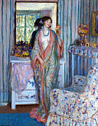 Blue Necklace Posters - The Robe Poster by Carl Frieseke