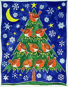 Cute Painting Posters - The Robins Chorus Poster by Cathy Baxter