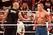 Wwe Framed Prints - The Rock and John Cena Framed Print by Wrestling Photos
