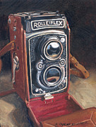 Camera Painting Prints - The Rolleiflex Print by Marguerite Chadwick-Juner