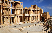 Reconstructed Posters - The Roman theatre at Sabratha in Libya Poster by Robert Preston