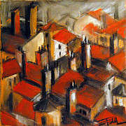 Old Town Pastels Posters - The Roofs Of Lyon Poster by EMONA Art