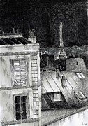 Eiffel Tower Drawings Metal Prints - The roofs of Paris Metal Print by Nicolas Jolly