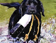 Black Lab Puppy Paintings - The Ropes by Molly Poole