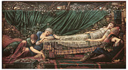 Fine Art  Of Women Painting Prints - The Rose Bower Print by Edward Burne-Jones