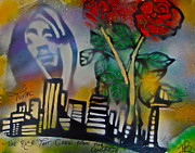 Stencil Art Paintings - The Rose From The Concrete gold by Tony B Conscious