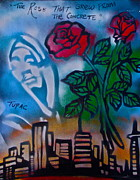 Stencil Art Paintings - The Rose From The Concrete by Tony B Conscious