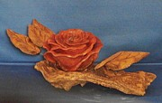 Woodcarving Sculpture Originals - The Rose by Russell Ellingsworth