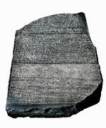 Ancient Letters Framed Prints - The Rosetta Stone. Ca.  196 Bc. Decree Framed Print by Everett