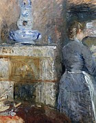 Chores Posters - The Rouart s Dining Room Poster by Berthe Morisot