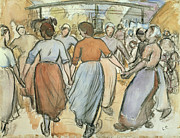 Breton Peasants Prints - The Round Print by Camille Pissarro