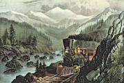 Lithographs Framed Prints - The Route to California Framed Print by Currier and Ives