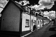 Small Village Framed Prints - The Row Seamount Row Of Traditional Fishing Cottages With Gable Wall On A Hill In Courtown Harbour Framed Print by Joe Fox
