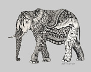 Ribbon Drawings Prints - The Royal Elephant Zentangled Print by Meldra Driscoll