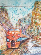 Arkansas Mixed Media Posters - The Royal Gorge Train Poster by Carol Losinski Naylor