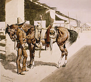 Frederic Remington Framed Prints - The Rural Guard Mexico Framed Print by Frederic Remington