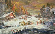 Vernacular Architecture Painting Posters - The Russian Winter Poster by Konstantin Korovin
