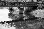 July Mixed Media - The Rusty Foot Bridge BW by Angelina Vick