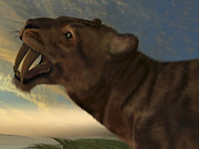 Saber Digital Art - The Saber-tooth Cat With Dagger Like by Corey Ford