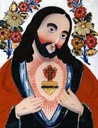 Sacred Heart Paintings - The Sacred Heart by Hungarian School