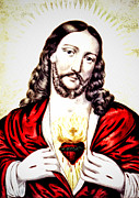 Son Of God Digital Art - The Sacred Heart of Jesus by Digital Reproductions