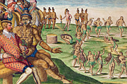 Native American Drawings - The Sacrifice of the First-Born Son by Jacques Le Moyne