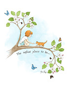 Tree Art Print Drawings Framed Prints - The safest place to be Framed Print by Amalou Studio