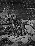 Black Bird Drawings Prints - The sailors curse the Mariner forced to wear the dead albatross around his neck Print by Gustave Dore