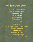 Prayer Digital Art Posters - The Saint Francis Prayer in gold lettering on green leather. Poster by Philip Ralley