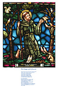 Francis Posters - The Saint Francis Prayer with an image of St Francis in Stained Glass Poster by Philip Ralley