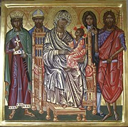 Byzantine Painting Framed Prints - The Saints of Hereford Icon Framed Print by Peter Murphy